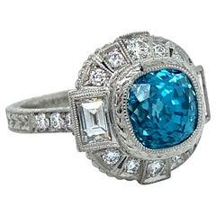 Stunning Platinum Diamond and Blue Zircon Ring Engagement Ring, 6.50ct