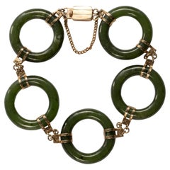 Midcentury Nephrite Jade Bracelet