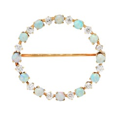 Vintage Opal 0.75 Carat Diamond 14 Karat Gold Circle Brooch