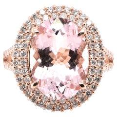 5.38 Carat Natural Sakura Pink Morganite and Diamond Ring Set in 18K Rose Gold