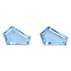 Aquamarine Earring Gemstones 11.18 Carat Kite Shaped Loose Gems Loupe Clean