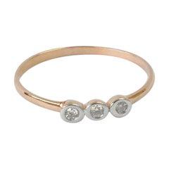 18k 14k 10k Solid Gold Ring Bezel Setting Three Diamond Ring Trio Diamond Ring