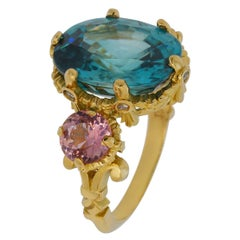 Apothéose d'Hercule Ring, 18kt Yellow Gold with Blue Zircon and Pink Tourmalines