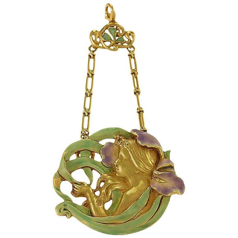 André Rambour French Art Nouveau Enamel Gold Pendant For Sale