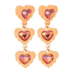 3d Printed Heart Shaped Cloud Tangerine Dream Earrings