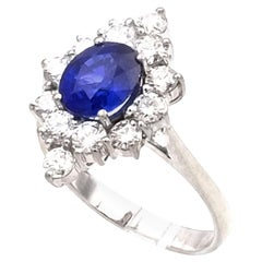 1.6 Carat Sapphire and 0.9 Carat Diamond 18K White Gold Cluster Ring