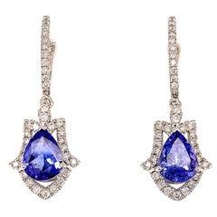 3.14 Carat Tanzanite Dangling Earrings