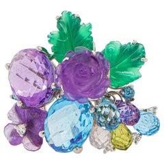 Colored Stones Flower Ring Topaz Amethyst Diamonds 18K White Gold