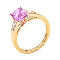 18K Pink Gold Cushion Cut Sapphire and Diamond Ring