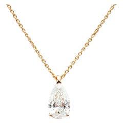Pear Cut Diamond Pendant Mounted on 18 Karat Rose Gold GIA