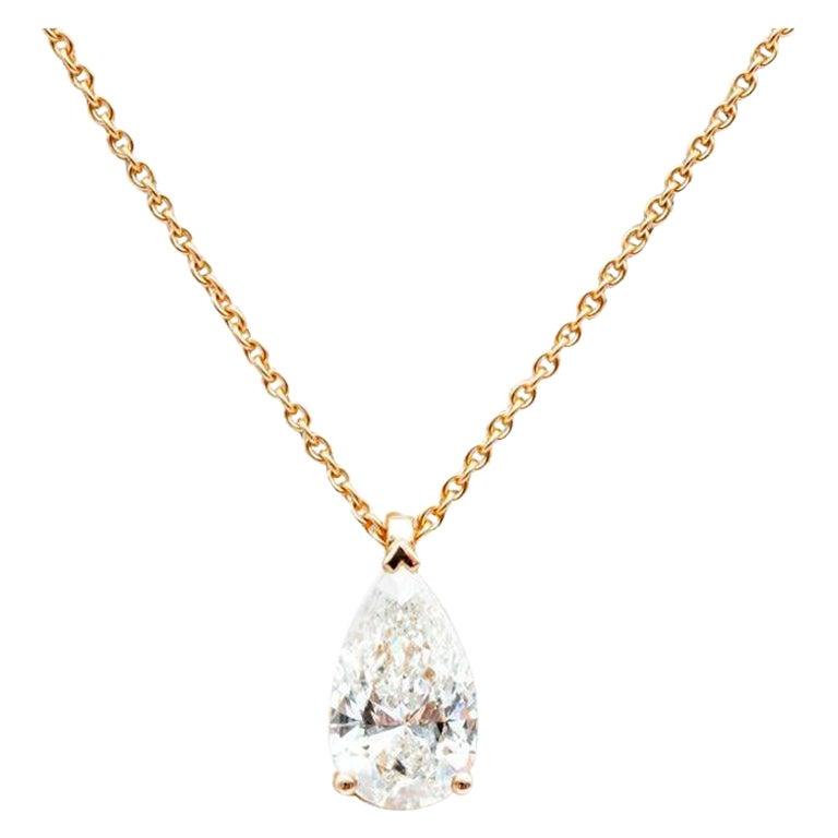 Pear Cut Diamond Pendant Mounted on 18 Karat Rose Gold GIA For Sale