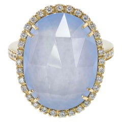 18Kt Yellow Gold Chalcedony and Diamonds Ring