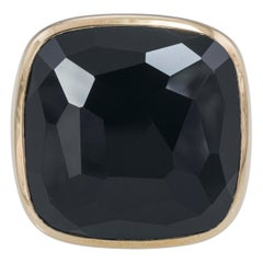 18Kt Rose Gold and Faceted Onyx Ring