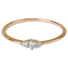 10k 14k 18k Solid Gold Trio Diamond Ring Minimalist Diamond Ring