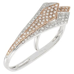 18kt White and Rose Gold Big 3 Chic Leaf Ring Enriched with Diamonds' Pavè