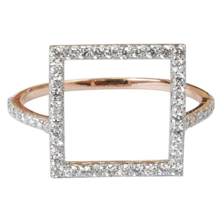 18k 14k 10k Solid Gold Square Shape Gold Diamond Ring Geometric Shape Diamond