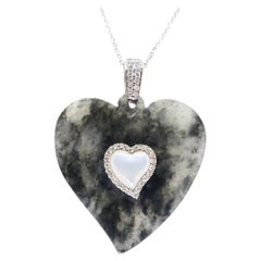 Certified Icy Black Jade, Diamond & Mother of Pearl Heart Pendant Necklace