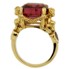 Anteros Ring in 9kt Yellow Gold with Rubellite Tourmaline and Pink Sapphires