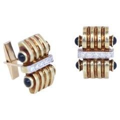 Art Deco Diamonds Cabochon Sapphires Gold Cufflinks, 1930