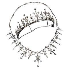 Victorian Tiara Necklace Transformer 7Ct Diamonds Gold Magazine, 1890