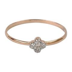 18k 14k 10k Gold Clover Ring Dainty Minimalist Diamond Ring Stackable Ring