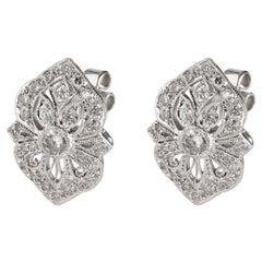Vintage Inspired Diamond Earrings in 18K White Gold 1.32 CTW