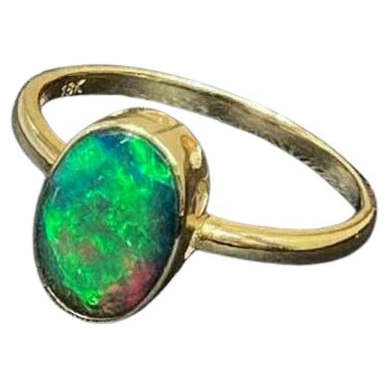 Australian Opal Ring 18 Karat Yellow Gold