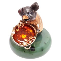 Miniature Pig Talisman Genuine Silver Gold Plated Pig with a Gem Hotpot