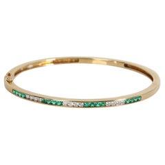 Tiffany & Co. Vintage Emerald Diamond Bangle in 18K Yellow Gold 0.53 CTW