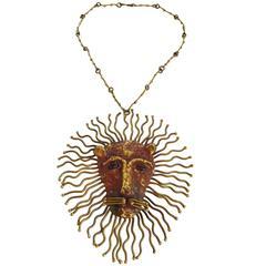 Pal Kepenyes Bronze Glass Lion Necklace