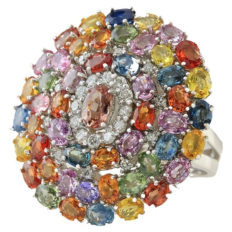 9.19 Carat Sapphire Diamond Cocktail Ring 14 Karat White Gold For Sale
