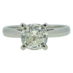 1.20 Carat Old European Cut Diamond Solitaire Ring, Platinum