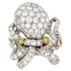 5.0 Carat Platinum Octopus Diamond Cocktail Ring
