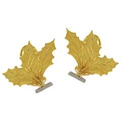 Buccellati Foglia Cardo Gold Leaf Earrings