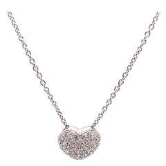 Pave Set Diamond Heart Pendant Necklace 18k White Gold