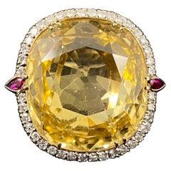 Certified 40 Carat Natural Unheated Ceylon Yellow Sapphire Diamond Cocktail Ring