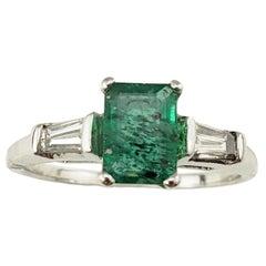 14 Karat White Gold Emerald and Diamond Ring GAI Certified