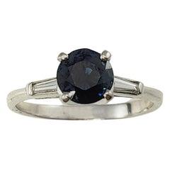 14 Karat White Gold Sapphire and Diamond Ring GAI Certified
