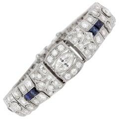 12 Carat Platinum Art Deco Diamond Sapphire Bracelet