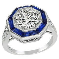 1.60ct Diamond Sapphire Engagement Ring