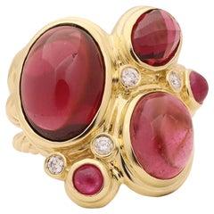David Yurman Mosaic Yellow Gold and Pink Tourmaline Ring