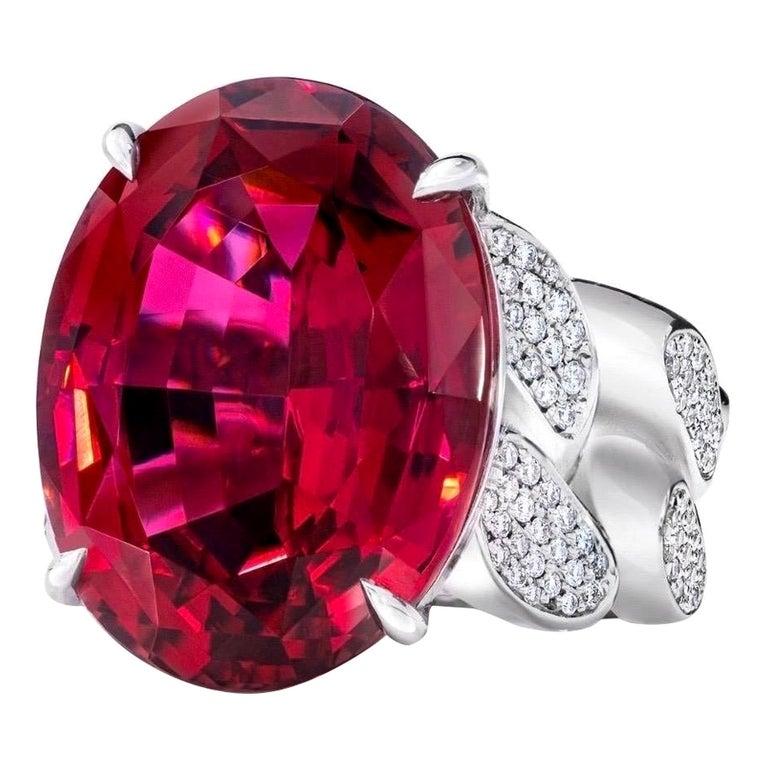 22.69 Carat Rubellite & Diamond Cuban Link 18k Gold Ring For Sale