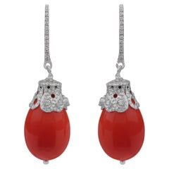 Coral Diamonds and 18k White Gold Earrings