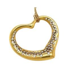 Modern Elsa Peretti Tiffany & Co. Open Heart Diamond Pendant Necklace