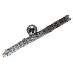 Vintage Wide Cuff Link Sterling Silver Bracelet Amethyst Clover Charm