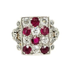 Antique Edwardian Platinum Topped Gold Ruby Diamond Checkerboard Ring
