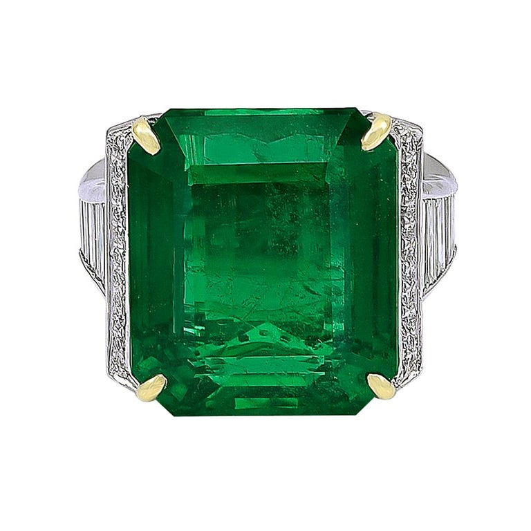 19.09 Carat African Emerald and Diamond Ring For Sale