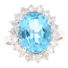 6.99 Carat Blue Topaz Diamond 14 Karat White Gold Ring