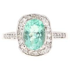 2.92 Carat Apatite Diamond 14 Karat White Gold Ring