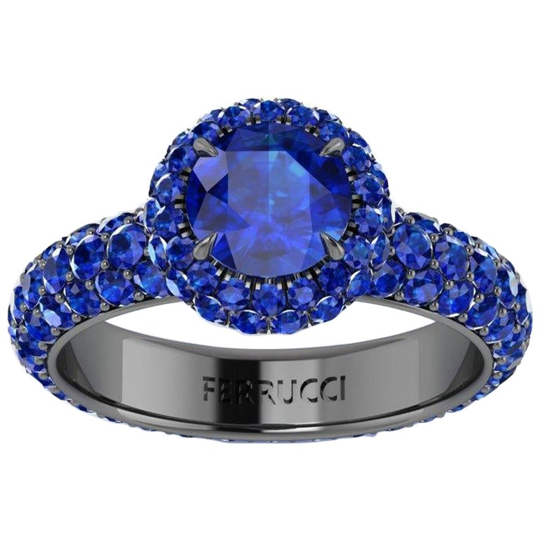 3.96 Ct Round Blue Sapphire with Sapphire Halo 18k Black Gold Eternity Pave Ring For Sale